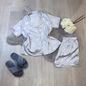 Louve silky printed pyjamas short set - baby blue