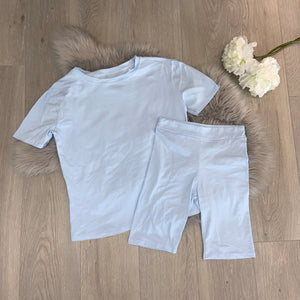 Myla tee and cycling shirt set - blue