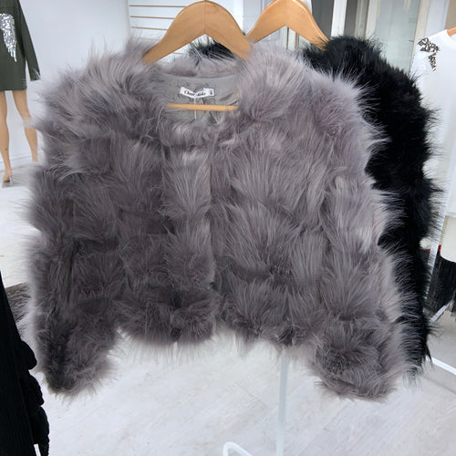 Audrina cropped faux fur jacket - grey