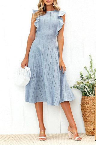 Veromoi Elegant Flounce Design Midi Dress