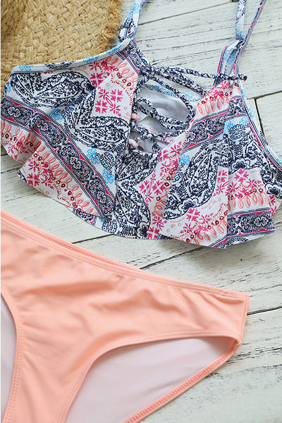 Veromoi Pretty Lace-up Print Two-piece Swimwears
