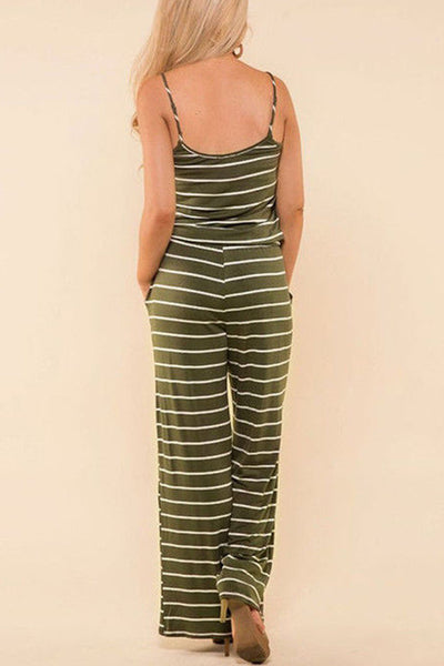 Veromoi Casual Striped Straight Jumpsuit