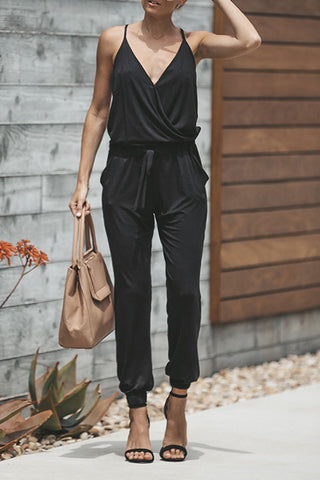 Veromoi Casual Solid V Neck Jumpsuit