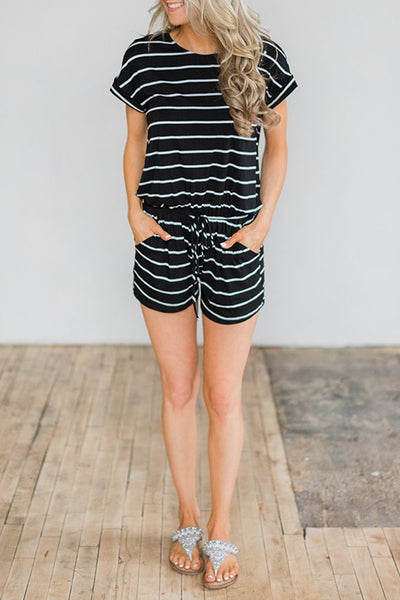 Veromoi Casual Striped Lace-up Romper