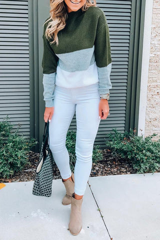 Veromoi Trendy  Long Sleeves  Patchwork Green Sweaters