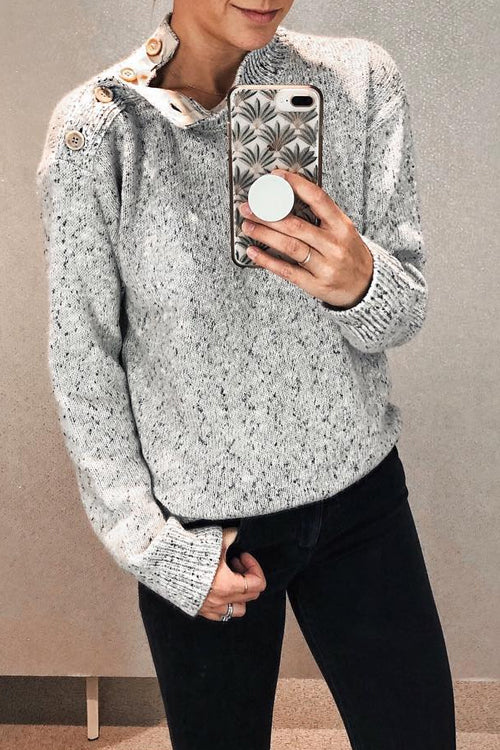 Veromoi Casual Shoulder Button Grey Sweaters