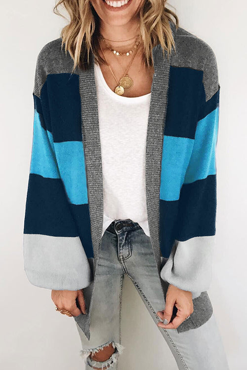 Veromoi Casual Puff Sleeves Patchwork Blue Cardigan