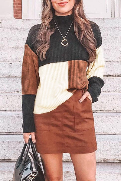 Veromoi Simple Blog Patchwork Sweater