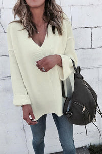 Veromoi Simple Loose White Sweaters
