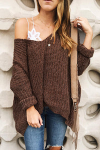 Veromoi Casual Loose Brown Sweaters