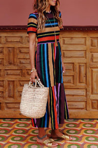 Veromoi Bohemian Striped Multicolor Ankle Length Dress