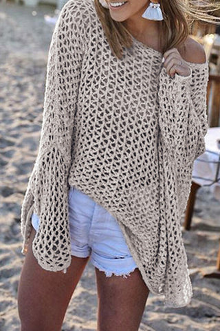 Veromoi Casual Hollowed-out Knitting Cover-Ups