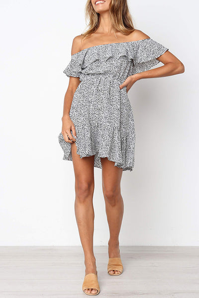 Veromoi Off The Shoulder Dots Print Mini Dress
