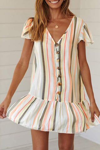 Veromoi Striped Ruffle Design Knee Length Dress