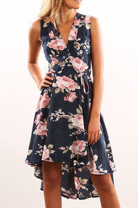 Veromoi Floral Printed Irregular Hems Knee Length Dress