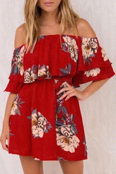 Veromoi Dew Shoulder Floral Printed Dress