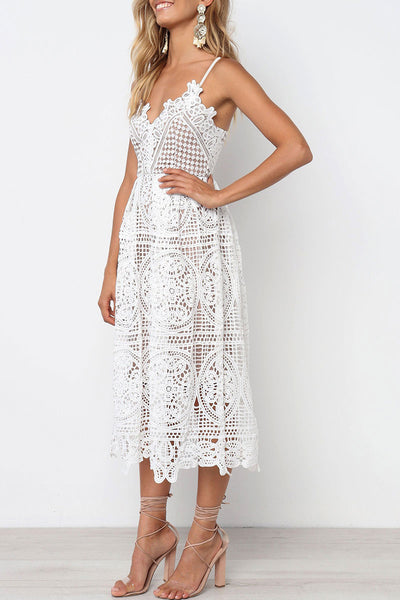 Veromoi Hollow-out Lace Midi Dress