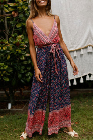 Veromoi Backless Bohemian Print Loose Jumpsuit