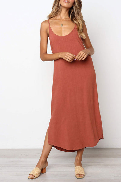 Veromoi Casual Sleeveless Sling Midi Dress