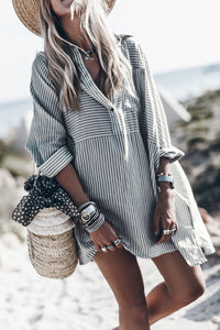Veromoi Striped Loose Shirt Mini Dress