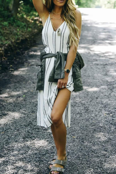 Veromoi Striped Sling Knee Length Dress
