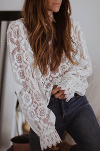 Veromoi Hollowed-out Puffed Sleeve Blouse