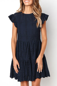 Veromoi Hollowed-out Ruffle Knee Length Dress