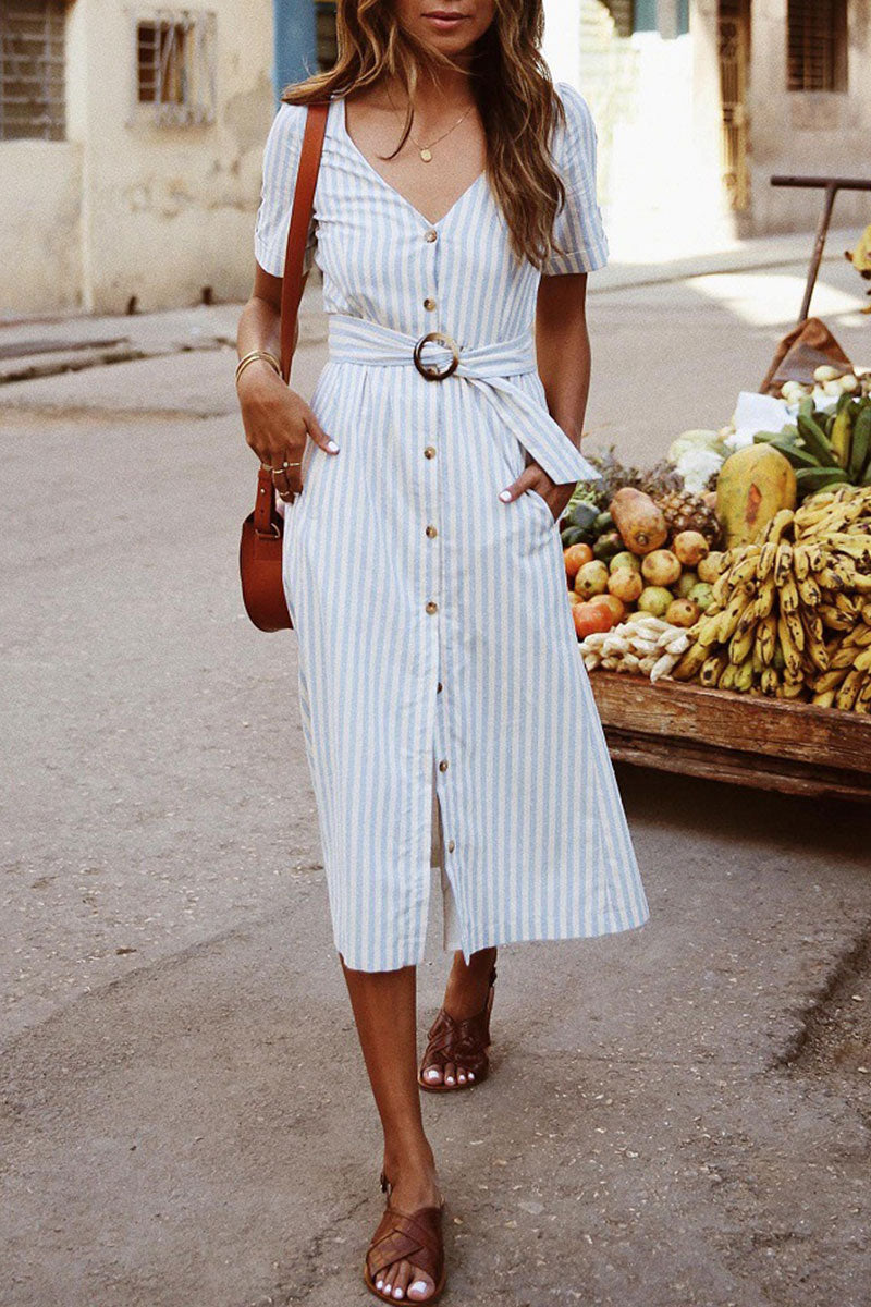 Veromoi Buttons Design Striped Midi Dress