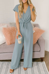 Veromoi Solid Printed Knot Design Loose Jumpsuit