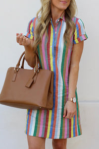 Veromoi Rainbow Striped Straight Mini Dress