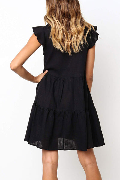 Veromoi Ruffle Design Solid Mini Dress