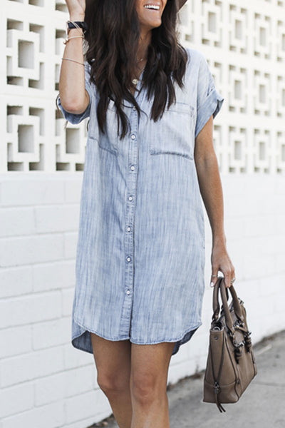 Veromoi Asymmetrical Shirt Straight Mini Dress