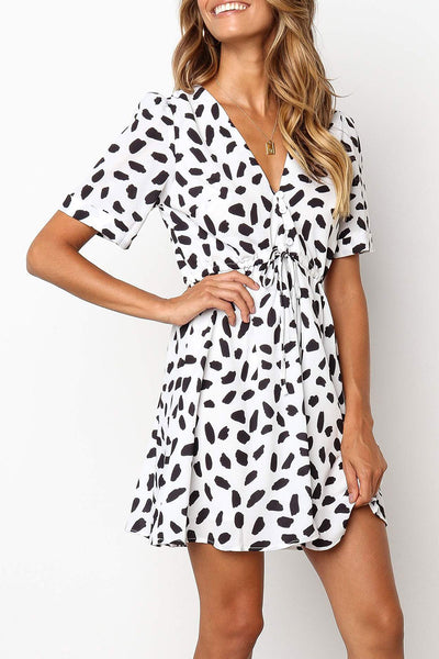 Veromoi Printed Lace-up Mini Dress