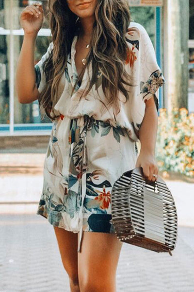 Veromoi Trendy Floral Printed Lace-up Mini Dress