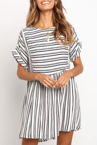 Veromoi White Striped Knee Length Dress