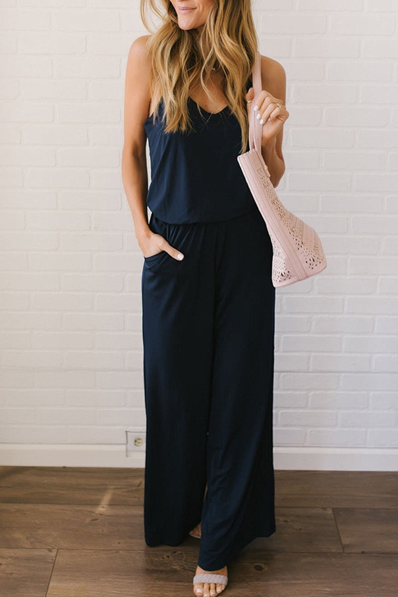 Veromoi Fashion V Neck Loose Sling Jumpsuit