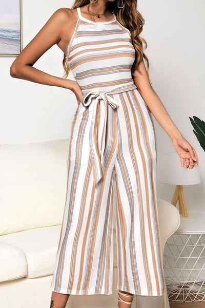 Veromoi Trendy Striped Lace-up One-piece Jumpsuit