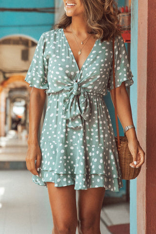 Veromoi Bohemian Dots Printed Knot Design Mini Dress