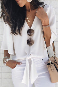 Veromoi Casual V Neck Knot Design White Blouse