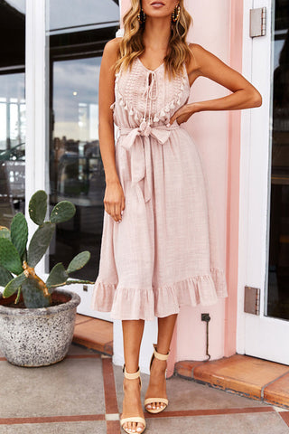 Veromoi Tassel Lace-up Sleeveless Midi Dress