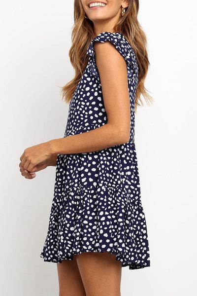 Veromoi Casual Small Dot Printed Mini Dress
