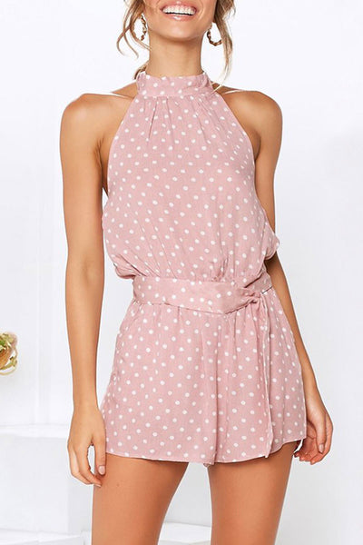 Veromoi Halter Neck Dots Printed One-piece Romper