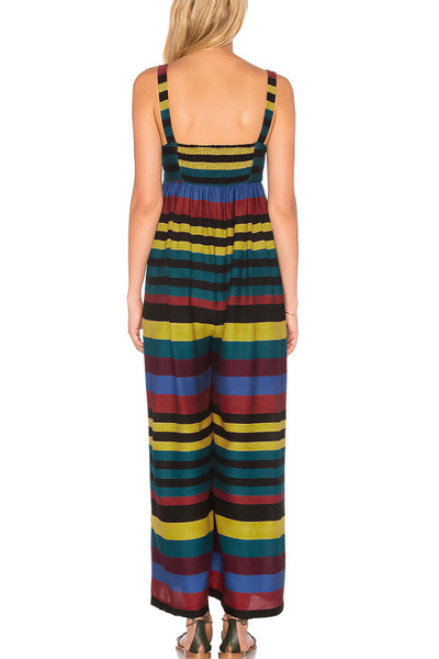Veromoi Casual Colorful Striped Jumpsuit