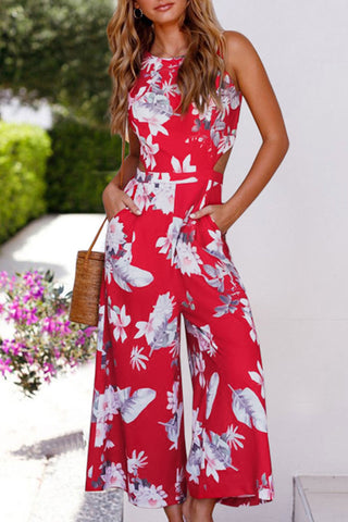 Veromoi Casual Printed Backless Straight Jumpsuit