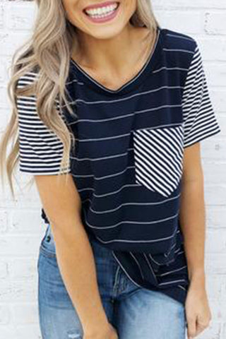 Veromoi V Neck Striped Patchwork T-shirt
