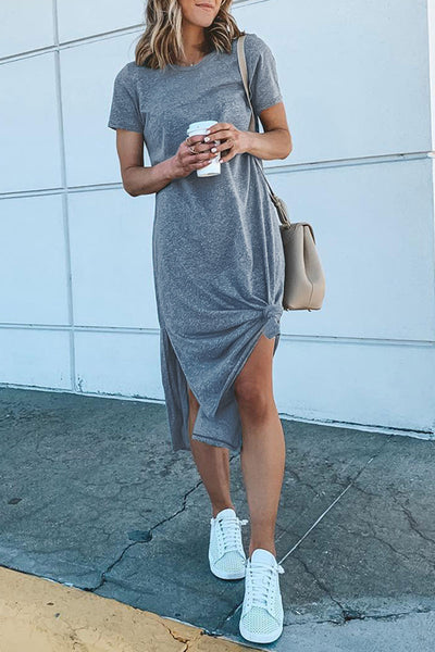 Veromoi Casual O Neck Side Split Midi Dress