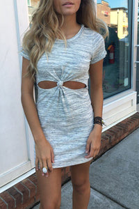 Veromoi O Neck Hollow-out Grey Mini Dress