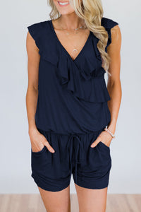 Veromoi V Neck Ruffle Design One-piece Romper