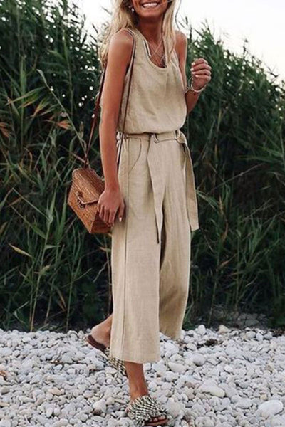 Veromoi Casual Sleeveless Lace-Up Straight Jumpsuit