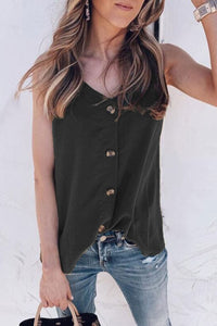 Veromoi V Neck Black Buttons Tank Top